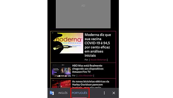 Tradução do Google Chrome no celular (Imagem: Reprodução/The Verge)