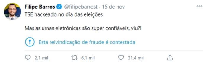 Tweet de Barros sinalizado (captura: Emerson Alecrim/Tecnoblog)