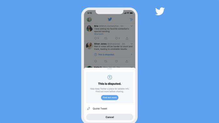 Twitter exibe alerta ao curtir e compartilhar tweets com informações falsas (Imagem: Reprodução/Twitter)