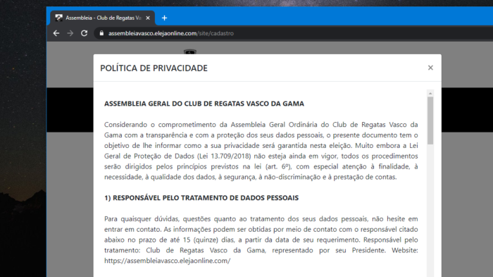 Vasco's privacy policy (Image: Reproduction / Elect Online)