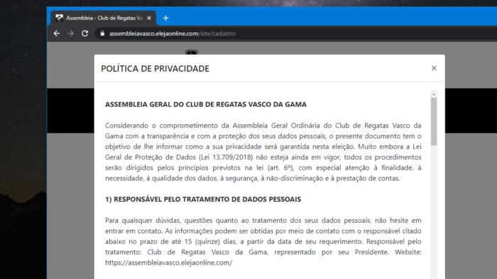 Política de privacidade do Vasco (Imagem: Reprodução/Eleja Online)