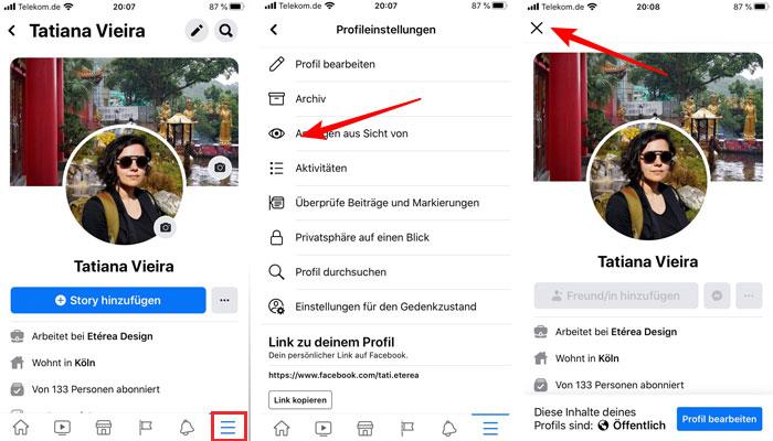 Ver perfil pessoal como outra pessoa na versão smartphone