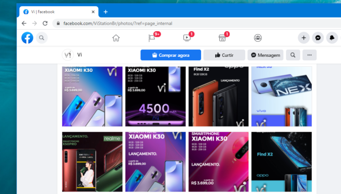 Página da Vi Station menciona celulares da Xiaomi, Oppo, Vivo e Realme (Imagem: Reprodução/Facebook)