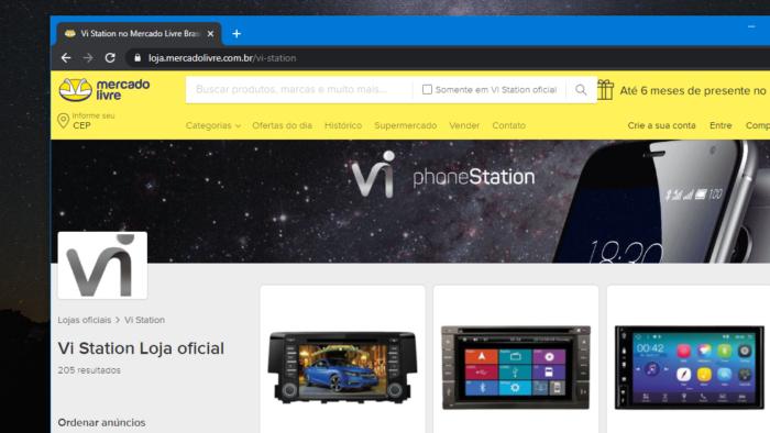 Vi Station ainda tem loja no Mercado Livre (Imagem: Reprodução)