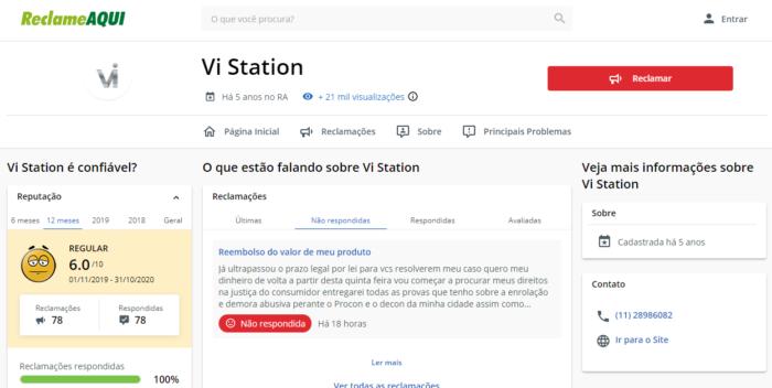 Vi Station acumula queixas (Imagem: Reprodução/Reclame Aqui)