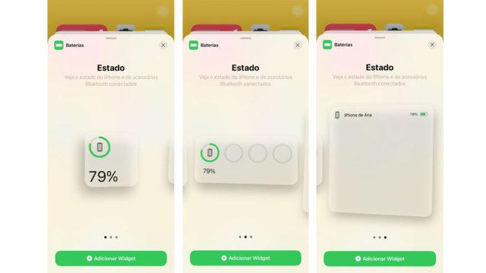 Widgets de batera do iPhone