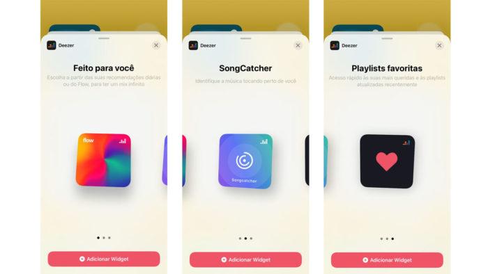 Widgets da Deezer no iPhone
