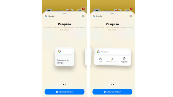 Widgets do Google para iPhone