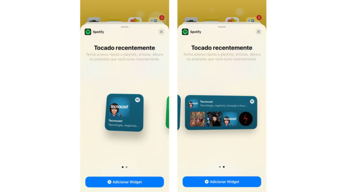 Widget do Spotify para iPhone