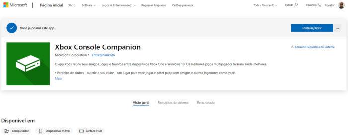 Página do Xbox Console Companion na Microsoft Store (Imagem: Reprodução/Microsoft)