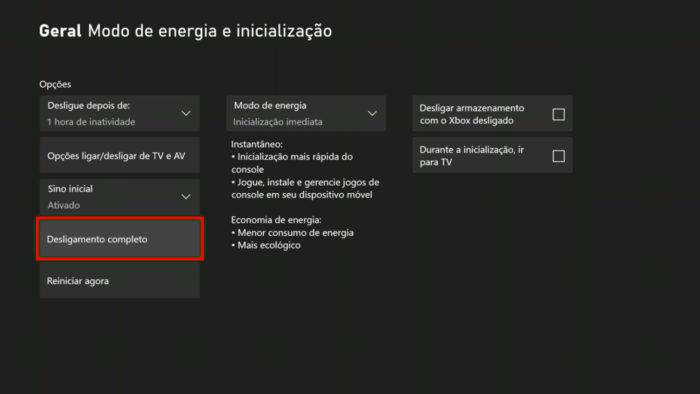 Menu Modo de energia e inicialização do Xbox One (Imagem: Reprodução, Microsoft)