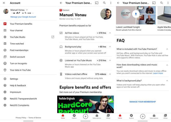 Seção com benefícios do YouTube Premium (Imagem: Reprodução/Android Police)