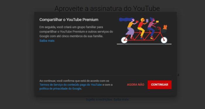 Como adicionar pessoas no YouTube Premium