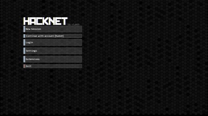 Tela inicial Hacknet (Imagem: Leandro Kovacs/Reprodução)