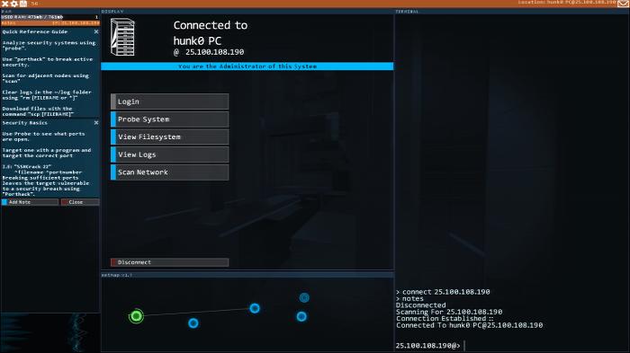 Visual do jogo Hacknet (Imagem: Leandro Kovacs/Reprodução)
