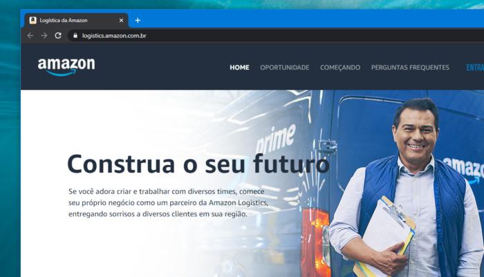 Site da Amazon Logistics no Brasil (Imagem: Reprodução)