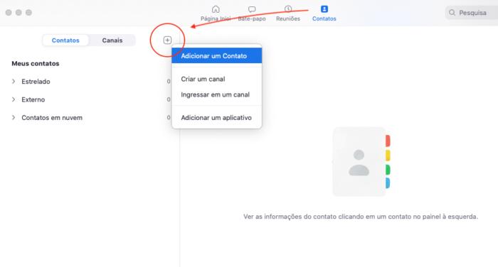 Como adicionar contatos no Zoom (Imagem: Reprodução / Zoom)