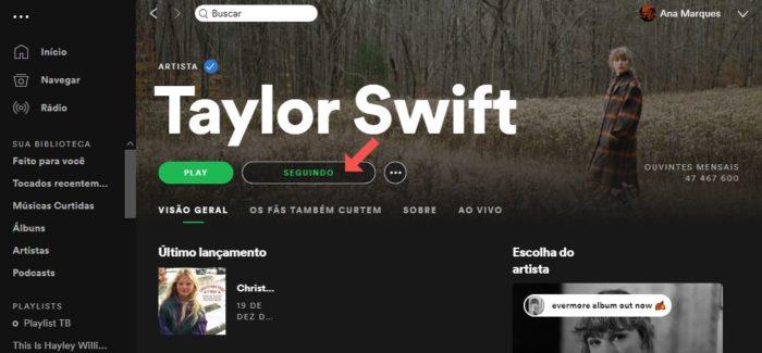 Como seguir artistas ou podcasts no Spotify (Imagem: Reprodução/Spotify)