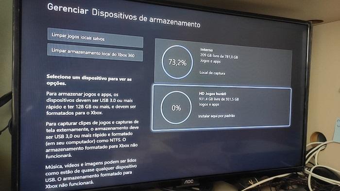 HD externo identificado pelo Xbox One (Imagem: Leandro Kovacs/Tecnoblog)