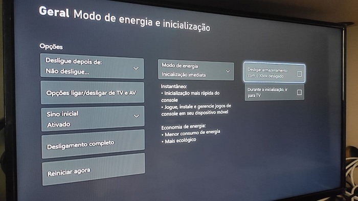 Configuração de gerenciamento de energia Xbox One (Imagem: Leandro Kovacs/Tecnoblog)