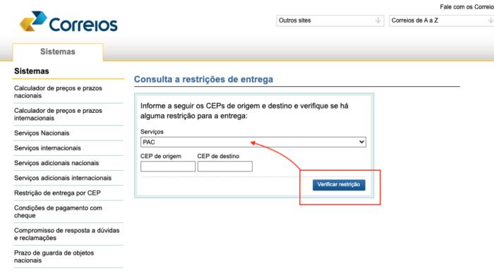 Consulta de Restrição de Entrega (Imagem: Divulgação/Correios)