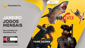 PS Plus de janeiro traz Maneater, Shadow of the Tomb Raider e mais