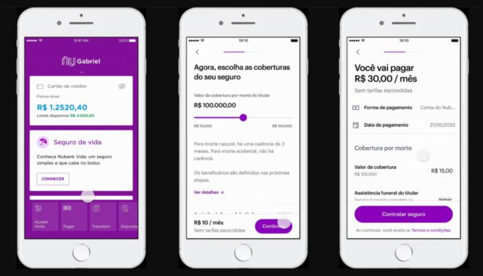 Seguro de vida é contratado pelo app (Imagem: Reprodução/Nubank)