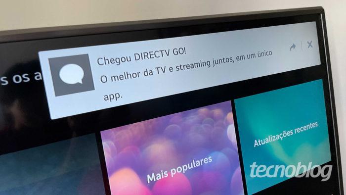 Notificação sinaliza chegada do DirecTV Go em TV da LG (Imagem: Paulo Higa/Tecnoblog)