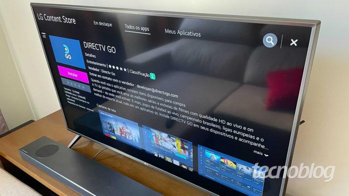 Aplicativo do DirecTV Go em TV LG 4K UN8000 (Imagem: Paulo Higa/Tecnoblog)