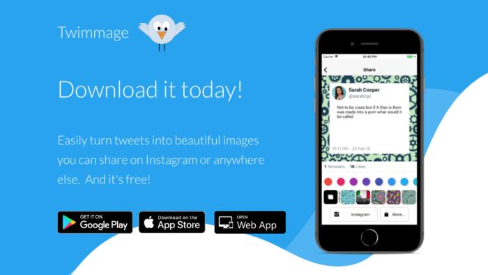Twimmage compartilha tweets nos Stories do Instagram (Imagem: Divulgação / Twiger)