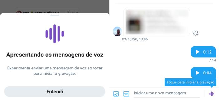 DM de áudio no Android (Imagem: Reprodução/Twitter)