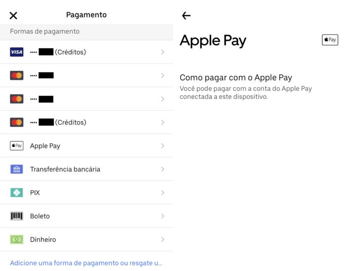 É possível pagar viagens e delivery do Eats com Apple Pay (Imagem: Reprodução/Uber)