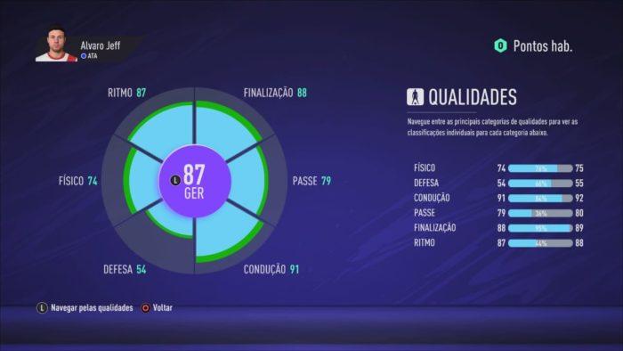 Qualidades do Jogador de Pro Clubs (Imagem: Reprodução / FIFA 21)