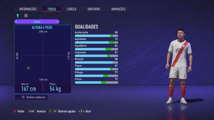 Escolha sua posição e crie seu jogador (Imagem: Reprodução / FIFA 21)