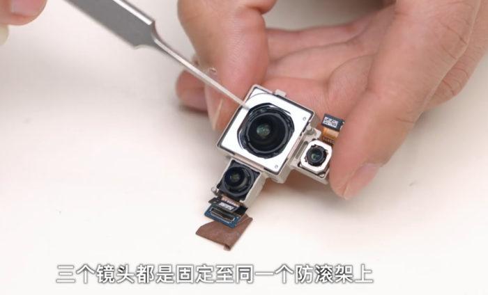 Desmonte do Xiaomi Mi 11: câmeras (Imagem: Reprodução/SeekDevice/Bilibili)