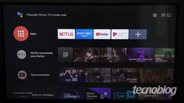 Android TV 9.0 rodando no Xiaomi Mi TV Stick (Imagem: Darlan Helder/Tecnoblog)