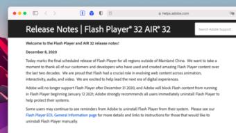 Adobe Flash Player recebe sua última atualização