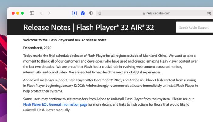 Adobe Flash Player recebe última atualização (Imagem: Reprodução/Tecnoblog)