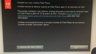 Adobe Flash Player pede para ser removido antes do fim do suporte