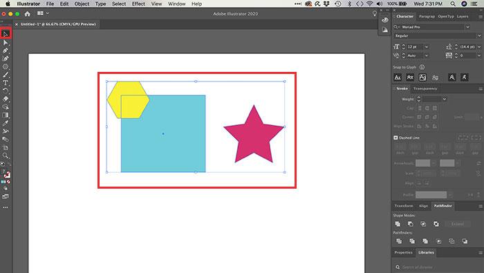 Agrupando objetos no Illustrator