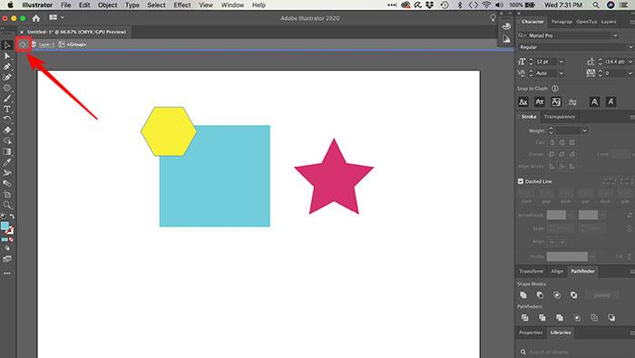 Editando elementos de um grupo no Illustrator