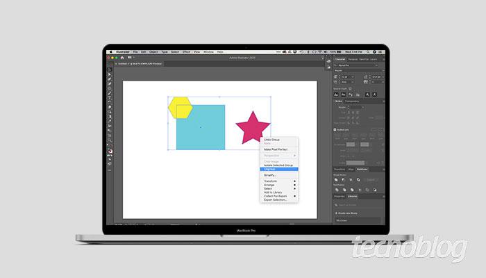 Agrupando e desagrupando objetos no Illustrator