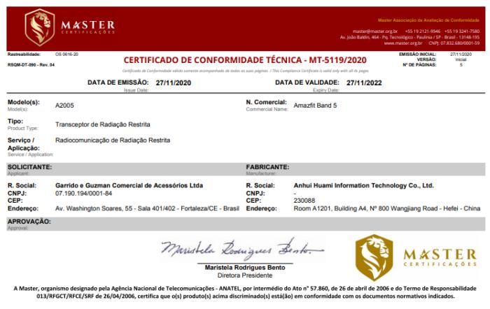 Certificação da Amazfit Band 5 na Anatel