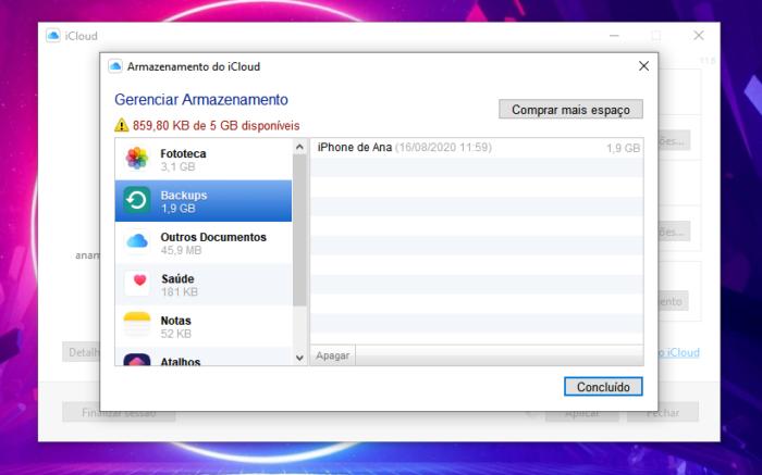 Como apagar o backup do iCloud no PC com Windows