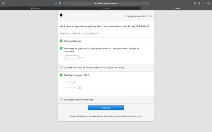 Apple quer saber se você usa acessórios da caixa, como cabo USB (Imagem: reprodução/9to5Mac)