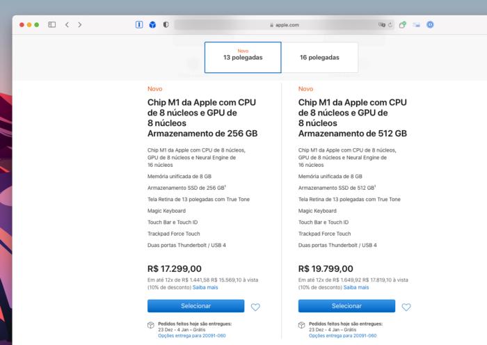 MacBook Pro com Apple M1 na Apple Store do Brasil (Imagem: Reprodução/Tecnoblog)