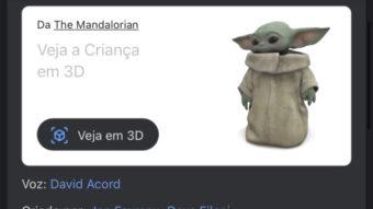 Google adiciona Grogu (Baby Yoda) como objeto 3D na busca
