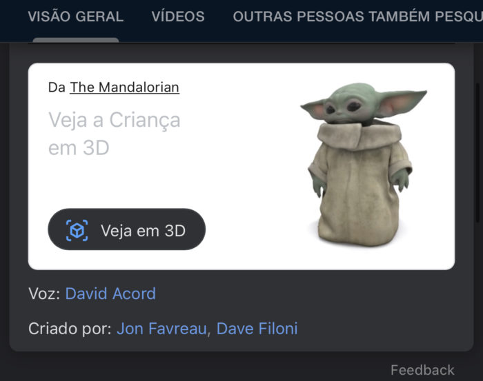 Baby Yoda chega aos bonecos 3D do Google (Imagem: reprodução)