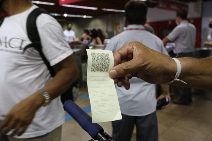 Bilhete com QR Code impresso (imagem: Governo do Estado de São Paulo)