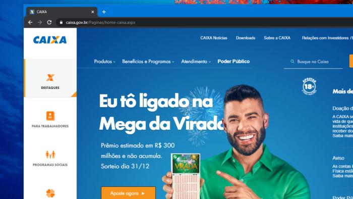 Caixa destaca Mega da Virada em site oficial (Imagem: Reprodução)